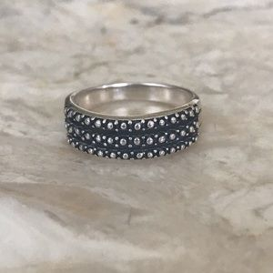 NEW 925 Sterling Silver Textured Triple Band Ring